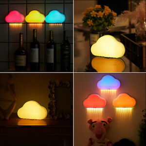 Led Night Light Wall Lamp Cloud Lamp Color Changing Usb Powered For Bedroom Kids Ebay