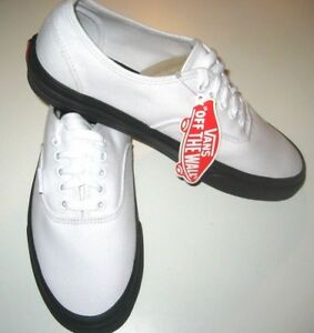 5bec7f9d98 Vans Authentic Mens Black Outsole True White Canvas Skate shoes Size ...