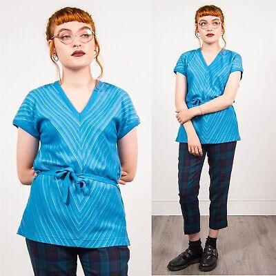 Anni'70 Vintage Blu E Argento A Righe T-shirt Girocollo Tie Waist V-neck Capped Manica 14-mostra Il Titolo Originale