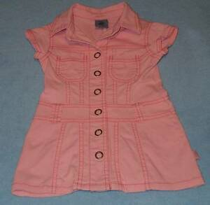 Pumpkin-Patch-Cute-Girls-Pink-Denim-Shirt-Dress-Size-1-12-18-Months