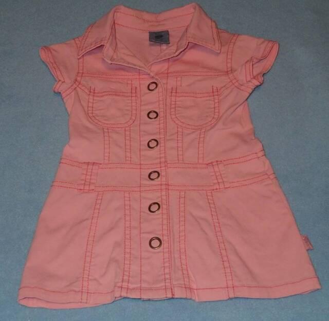 Pumpkin Patch Cute Girls Pink Denim Shirt Dress, Size 1 (12-18 Months)