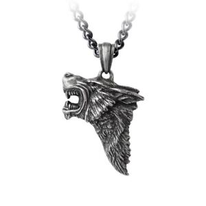 Alchemy-Gothic-Dark-Wolf-Profile-Snarling-Antiqued-Pewter-Pendant-On-Chain