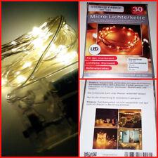 30 er Micro Lichterkette, warmweiss, 310cm länge, batteriebetrieben,