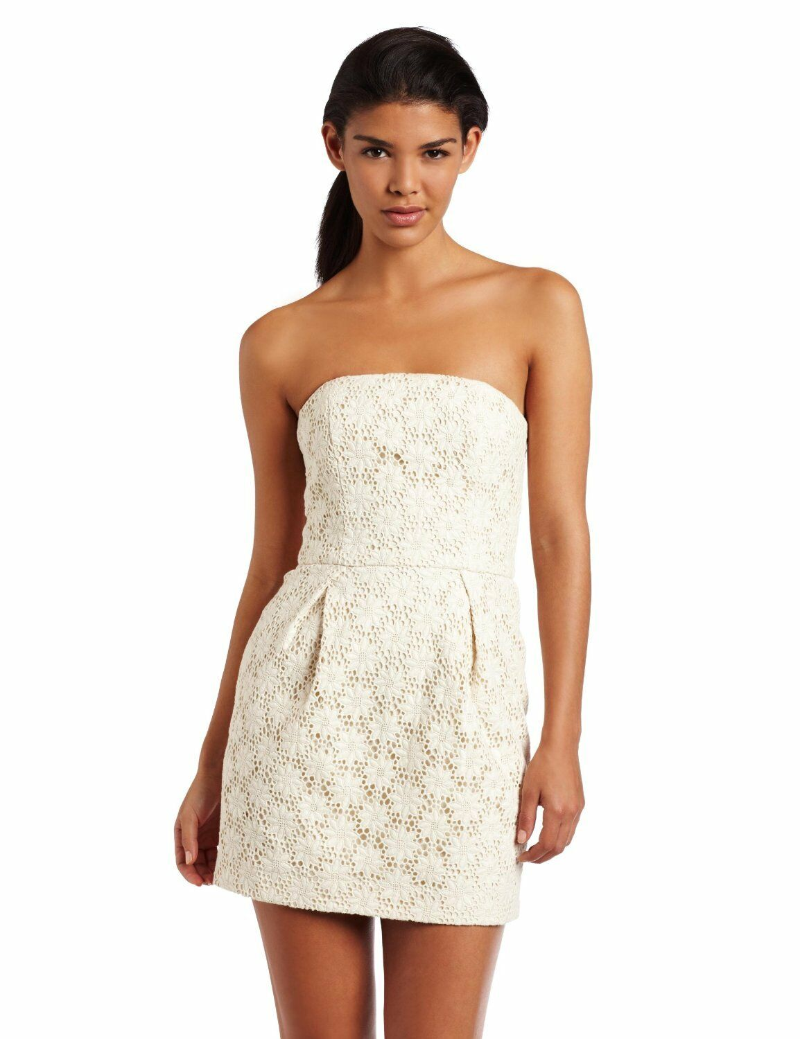 French Connection Creamy Crochet Lace Strapless Dress