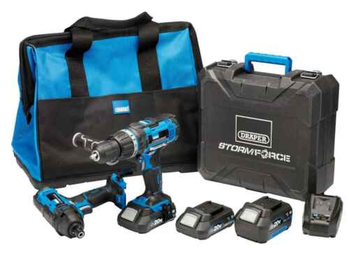 Draper 40448 20 V 1x4.0Ah 2x2.0Ah Storm Force Combi Impact Double Kit