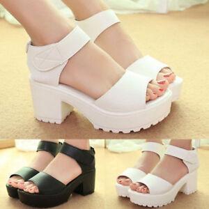 a99f79f595a Fashion Women Ankle Strap Peep Toe Sandals Mid Heel Chunky Platform ...