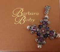 Barbara Bixby Sterling & 18k Multi-gemstone Cross Enhancer 2