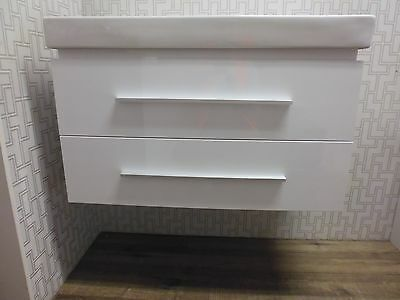 Bathroom Vanity White Wall Hung Ceramic Basin 900 Soft Closing Drawers SECONDS