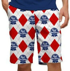 163323a7c1 PBR Pabst Blue Ribbon Beer Loudmouth Golf Shorts Mens 32 Red White ...