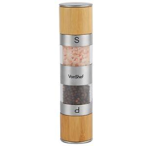 VonShef Salt and Pepper Mill Grinder Shaker Bamboo 2-in-1 Herbs Spices Rock Salt