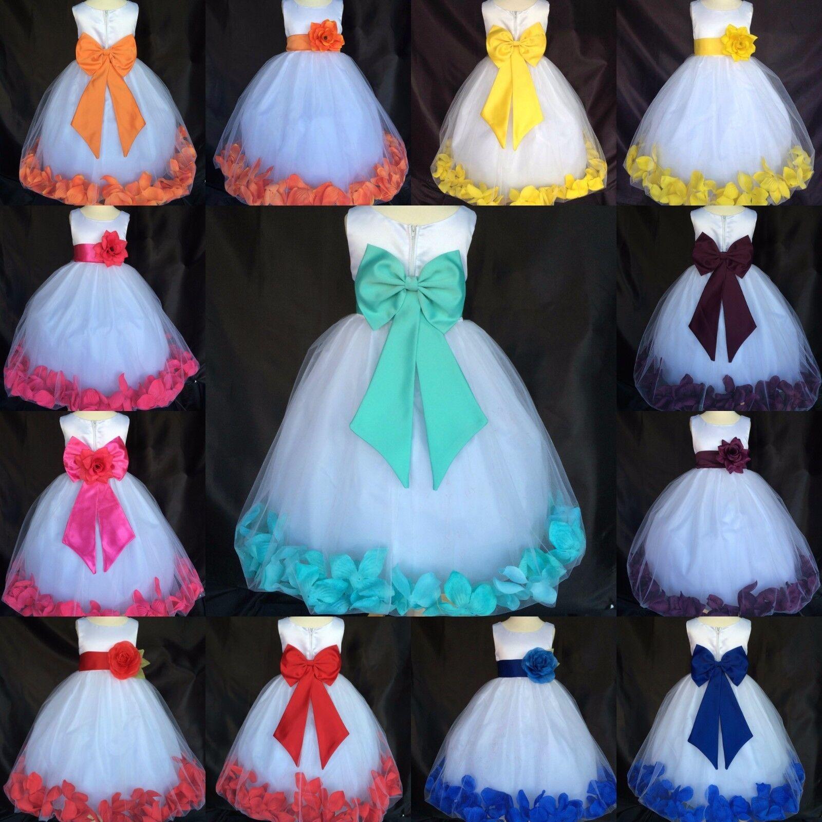 White Satin Tulle Rose Petal Dress Big Bow Easter Wedding Toddler Infant Girl 24