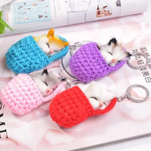 Cute Sleeping Cat Pompom Keychains Keyring Women Key Chains Fluffy Car Key Ri ua