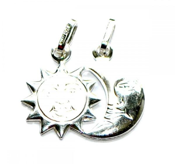 2019 Mode Genuine 925 Sterling Silver Fancy Neck Bracelet Charm Pendant - Sun And Moon Der Preis Bleibt Stabil