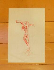 "SALVADOR DALI AUTHENTIC -JESUS CHRIST CRUCIFIXION- 13"" x 8.5"" HAND DRAWING"