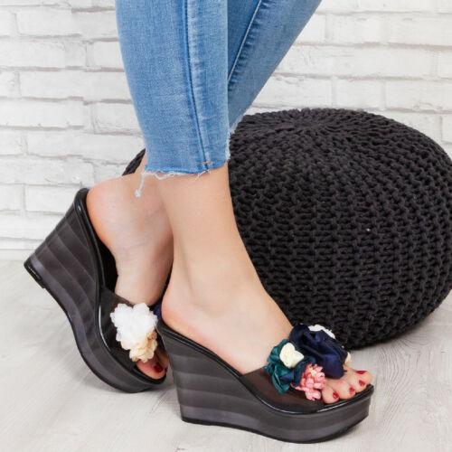 Scarpe donna sabot sandali punta aperta  zeppe fiori floreali TOOCOOL GIA-938