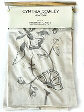 """Cynthia Rowley Jacobean Embroidered Linen Cotton PAIR Window Curtain Panels 96"""""""