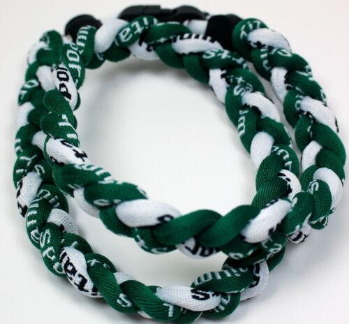 "SALE 20/"" 3 Rope Titanium Twist Sport Necklace Green White Tornado Baseball"