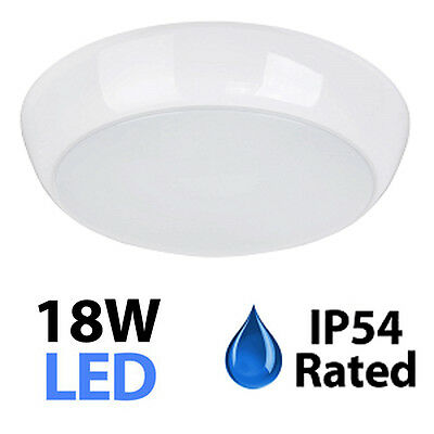 IP54 Modern 18W Daylight SMD LED White Frosted Flush Bathroom Ceiling Light NEW