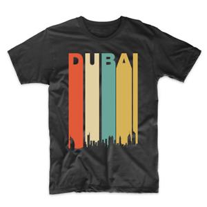 Retro-1970-039-s-Style-Dubai-UAE-Cityscape-Downtown-Skyline-T-Shirt