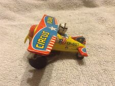 Rare Antique Tin Toy Japan Yone Circus Airplane Airplane Japanese Used Working