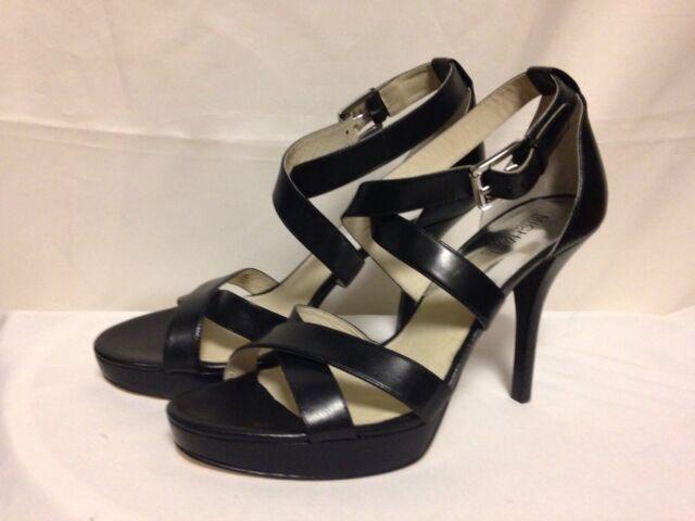 d323ffc5a17 Michael Kors Evie Platform Sandals 10 M Black Leather 40T5EIHA1L New with  Box
