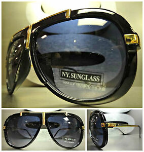 New CLASSIC VINTAGE RETRO HIP HOP Old School Style SUNGLASSES Black & Gold Frame