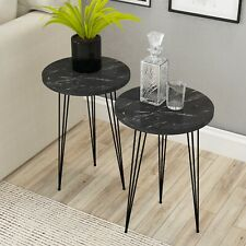 Marble Look Wood Round Side Accent End Nightstand Table withMetal Legs,Set of 2