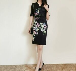 AUTH-Ted-Baker-SOLIAA-Floral-Print-V-neck-Short-Sleeve-Bodycon-Dress-Black-0-5