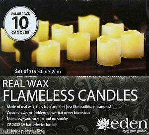10 Pack x LED Flameless Real Wax Candle Set