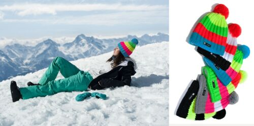 Kniteted Beanie Hat Winter Warm Wooly Unisex Ladies Ski Skull Cap Fleece Pom Pom