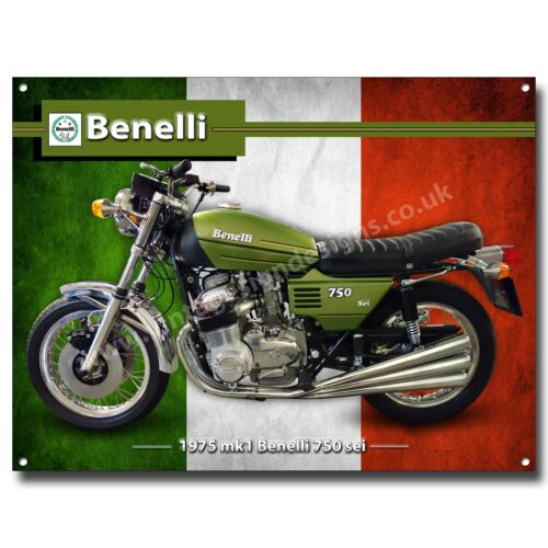 1975 MK1 BENELLI 750 SEI MOTORCYCLE METAL SIGN. VINTAGE ITALIAN MOTORCYCLES.A3