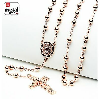 """Fashion 6mm Rose Gold Bead Guadalupe & Jesus Cross 28"""" Rosary Necklace HR 600 RG"""