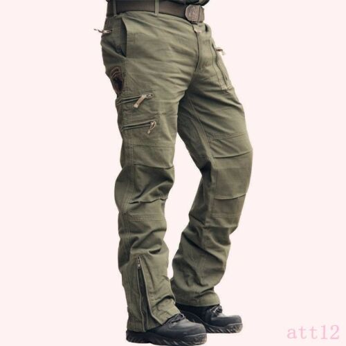 Men/'s Casual Cotton Multi Pocket Breathable Jeans Military Pants Long All US Sz