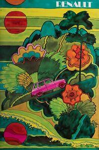 Original-Vintage-Poster-RENAULT-R16-Voiture-psychedelique-hippie-1970