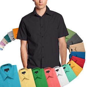 Men-039-s-Classic-Fit-Button-Down-Designer-Short-Sleeve-Dress-Shirts-29-Colors-S-5XL