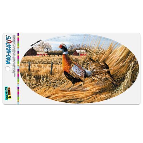 Pheasants on the Farm Automotive Car Refrigerator Locker Vinyl Euro Oval Magnet