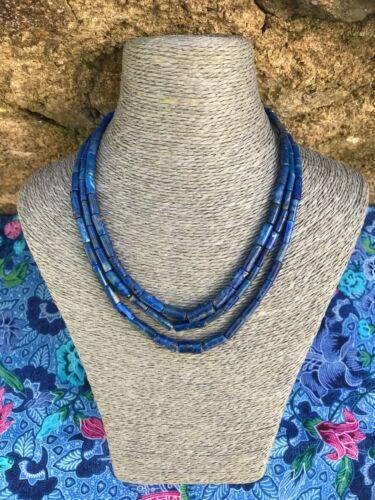 Afghanistan Collier sautoir en lapis lazuli 3 rangs
