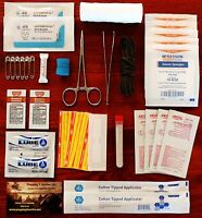 First Aid Kit Surgical Pack Suture Medical Survival Outdoor Hiking Blood Clot