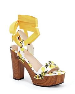 39b8d231744 Details about JustFab Mallory Womens UK 7 Lemon Yellow High Platform Heel  Wrap Around Sandals