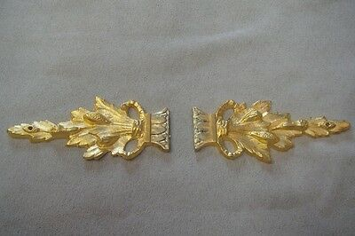 GOLD PAIR ARMOIRE ORMOLU ACCENTS HOME DECOR LEAVES