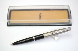 Parker 45 Fountain Pen in Black Color and Steel Cap, Made in Argentina