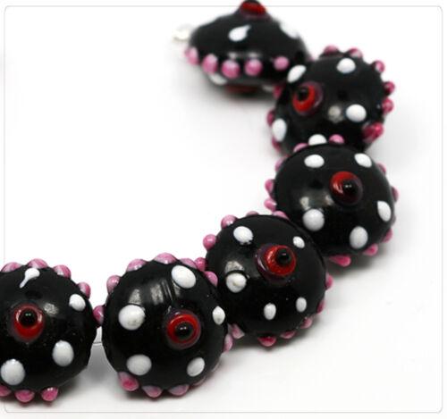4x Lampwork Perles De Verre Bijoux Bricolage Perles Beads À faire soi-même Lentille 17 mm lb208