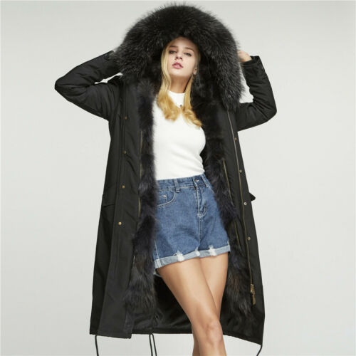 Long Parka Raccoon Windproof 18105 Fur Story Real Coat Lining Women Hood 6dxUq7SwdR