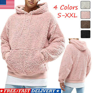 Men-Winter-Fluffy-Hoodie-Pullover-Fleece-Sweatshirt-Hooded-Coat-Sweater-Jumpers