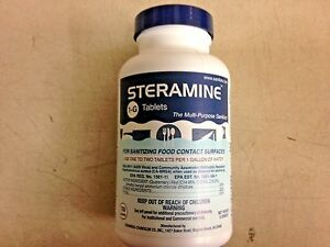 Steramine 1-G Tablets Sanitizer for Food Contact Surfaces, Case 6 bottles, 150 e