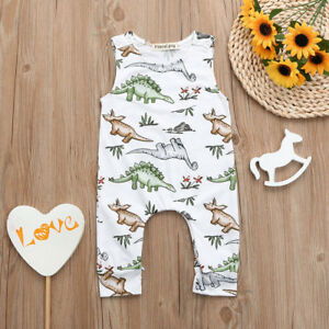 Newborn Baby boy Girl Romper Jumpsuit Sleeveless Cartoon Dinosaur Print Bodysuit Overalls Outfits Clothes