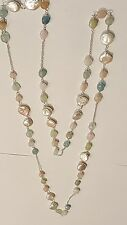 "925 STERLING SILVER, ROSE QUARTZ, PEARL & JADE 42"" LONG STRAND NECKLACE"