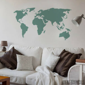 carte du monde pochoir mural tissu meuble peinture maison d cor art ebay. Black Bedroom Furniture Sets. Home Design Ideas