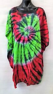 Colourful-Long-Tie-Dye-Red-Green-Loose-Fitting-Tunic-Top-Size-12-14-16-18