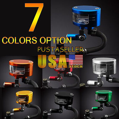 US Ship 7 Color Brake Reservoir Oil Fluid Cup Universal Fit For GSXR600/750/1000